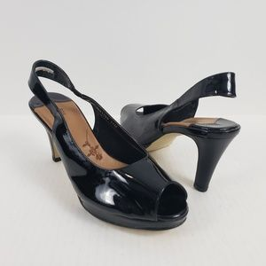 Ros Hommerson Slingback Heel Patent Leather Black